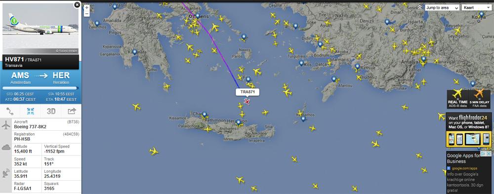 Vluchten naar Kreta en vanaf Kreta volgen op Flightradar24.com
